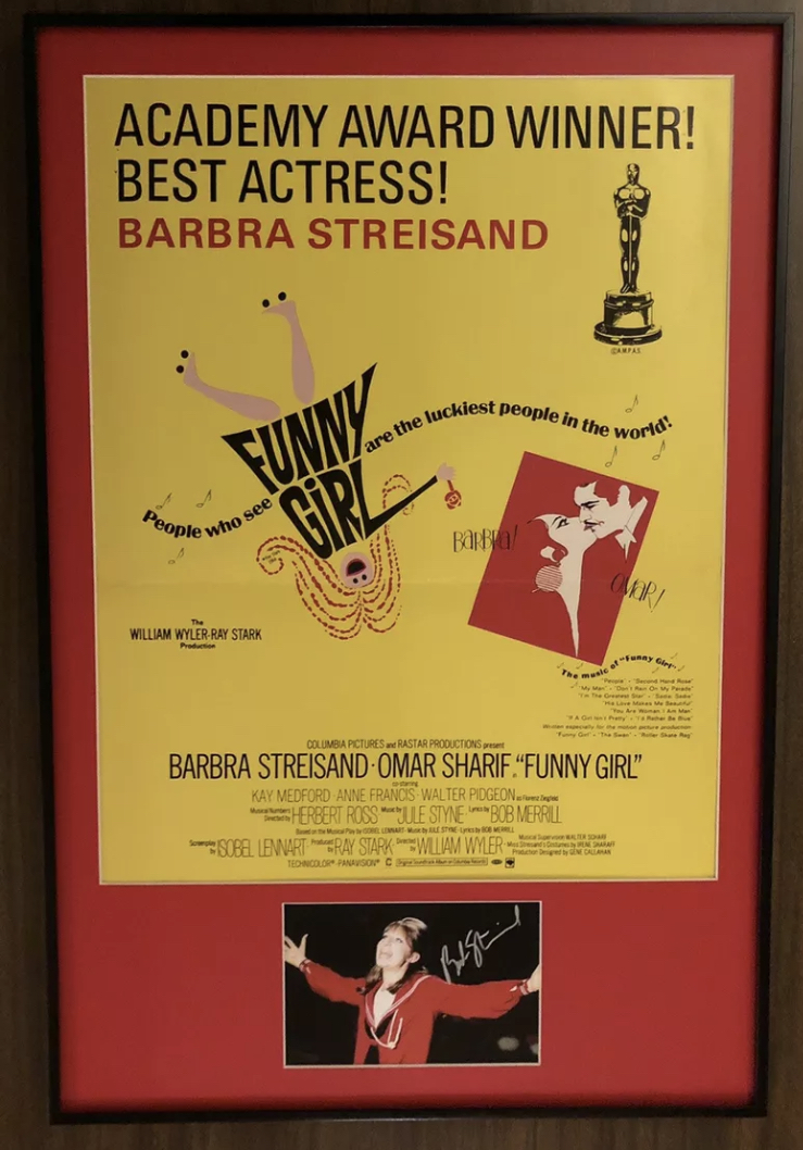 Barbra Streisand FUNNY GIRL '68 Signed Framed 16 x 24 Gorgeous WC Poster Artwork