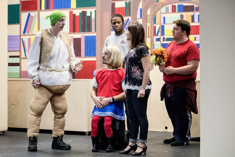 1. Shrek (Steven Dow) pleads with Fiona (Candice Castro,) while Lord Farquaad (Josè Bernard) and two of his men (Amire Collins and Dustin McHale) look on 1