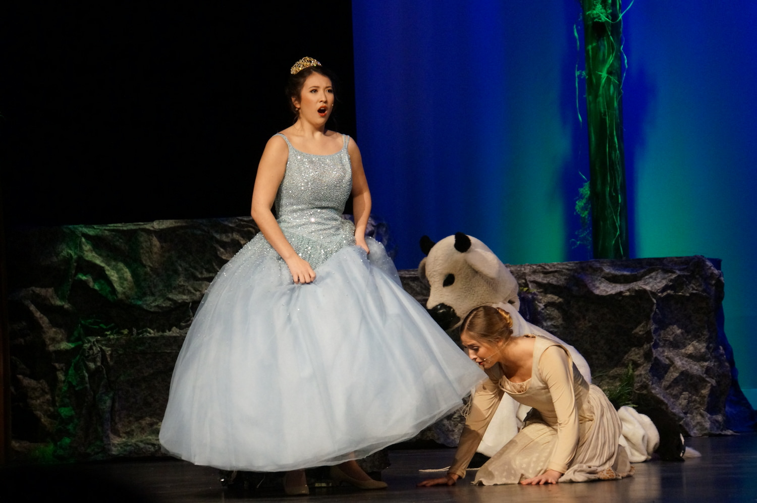 Cinderella escaping/hiding from the prince, while the Baker's wife discovering Cinderella has gold slippers. 1