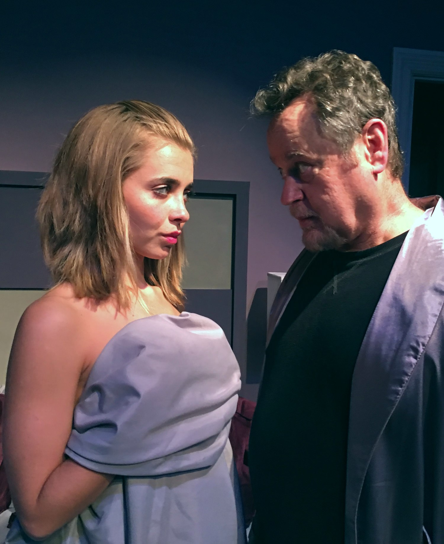 Alternate Reality? Oliver Foxx (Gregg Berger) wants to know how Gina (Albina Katzman) got into his bed in the World Premiere of Albert James Kallis's DeLUSIONAL Affair 1