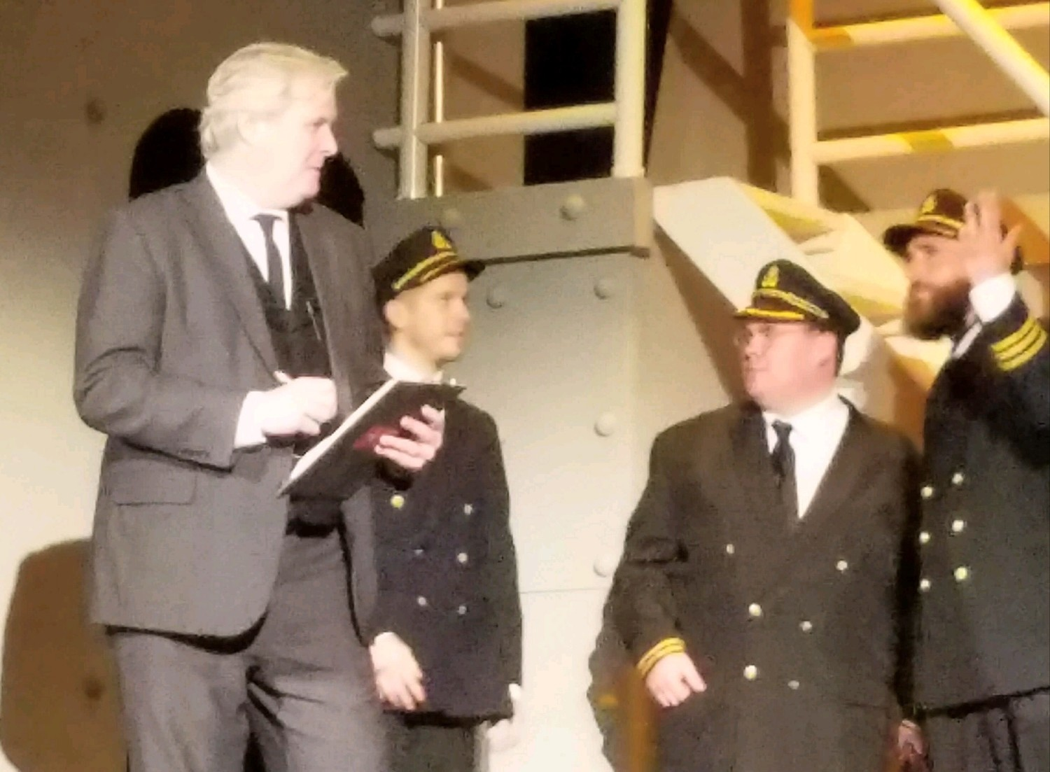 (Right to Left: Scott Fegley as Herbert Pitman, Nicholas Pecht as Bruce Ismay and Gearge Hart Pence as Captain Edward J. Smith) 2