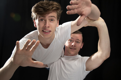 Dylan Weand as Icarus and Logan Beutel as Daedalus in Dreams of Icarus, photograph by Jason Johnson-Spinos 1