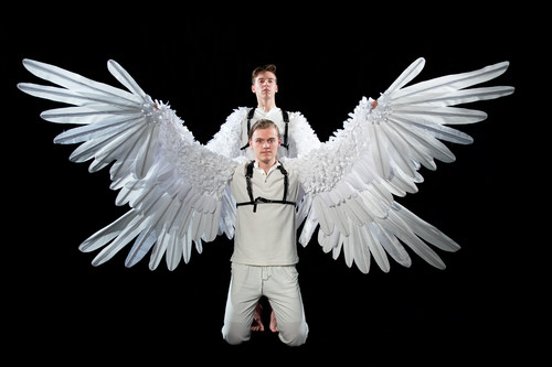 Dylan Weand as Icarus and Logan Beutel as Daedalus in Dreams of Icarus, photograph by Jason Johnson-Spinos 2