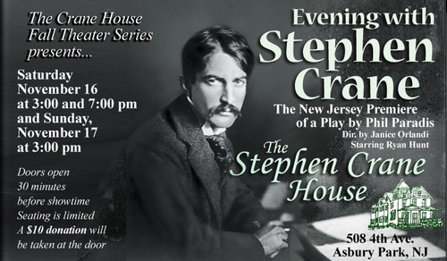 Ryan Hunt performs as Stephen Crane in EVENING WITH STEPHEN CRANE, a one-man play by Phil Paradis, directed by Janice Orlandi, at The Stephen Crane House in Asbury Park, NJ Nov. 16-17 Tickets $10 at door or purchase online at https://eveningwithstephencrane.brownpapertickets.com Photo by: Eoghain Francis Kiernan 2