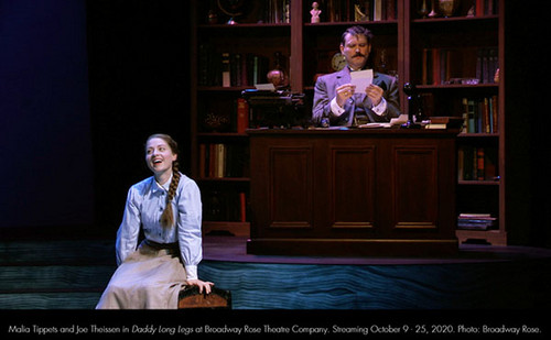 Malia Tippets and Joe Theissen in Daddy Long Legs at Broadway Rose Theatre Company. Streaming October 9 - 25, 2020. Photo: Broadway Rose. 1