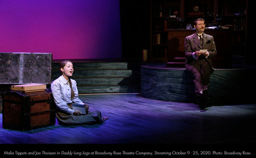 Malia Tippets and Joe Theissen in Daddy Long Legs at Broadway Rose Theatre Company. Streaming October 9 - 25, 2020. Photo: Broadway Rose. 2