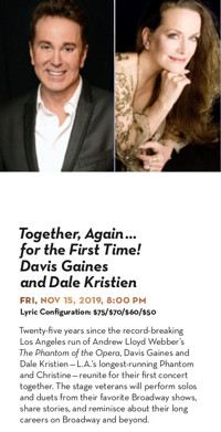 Together, Again...for the First Time! Davis Gaines and Dale Kristien in Los Angeles