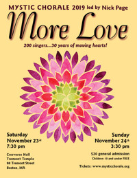 Mystic Chorale sings MORE LOVE 11/23 & 11/24! in Boston