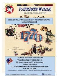 Interactive Movie Screening of 1776 - A Patriots Week Event in New Jersey