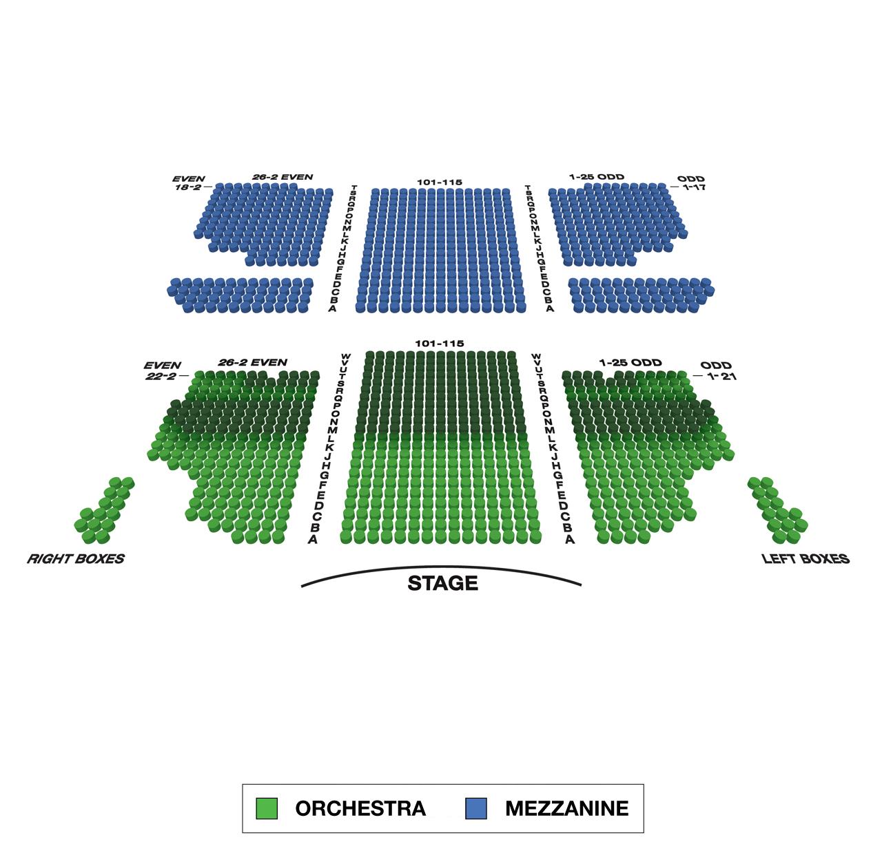 Al Hirschfeld Theatre Large Broadway Seating Charts
