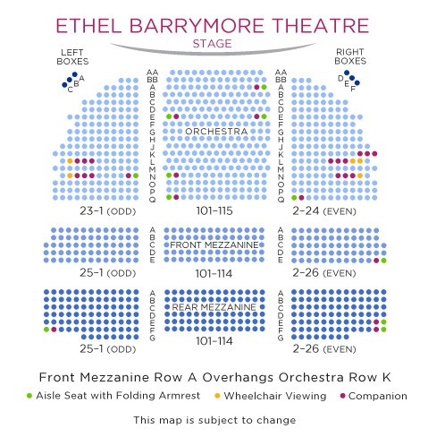 Ethel Barrymore Theatre Small Seating Chart