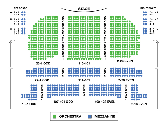 Eugene Oneill Theatre Broadway Seating Charts