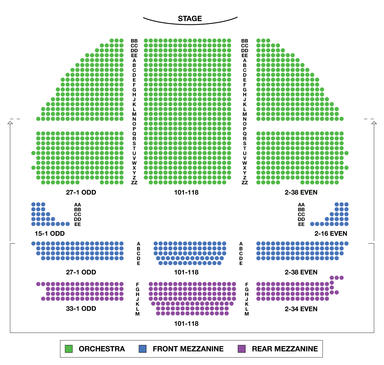Gershwin Theatre Large Broadway Seating Charts