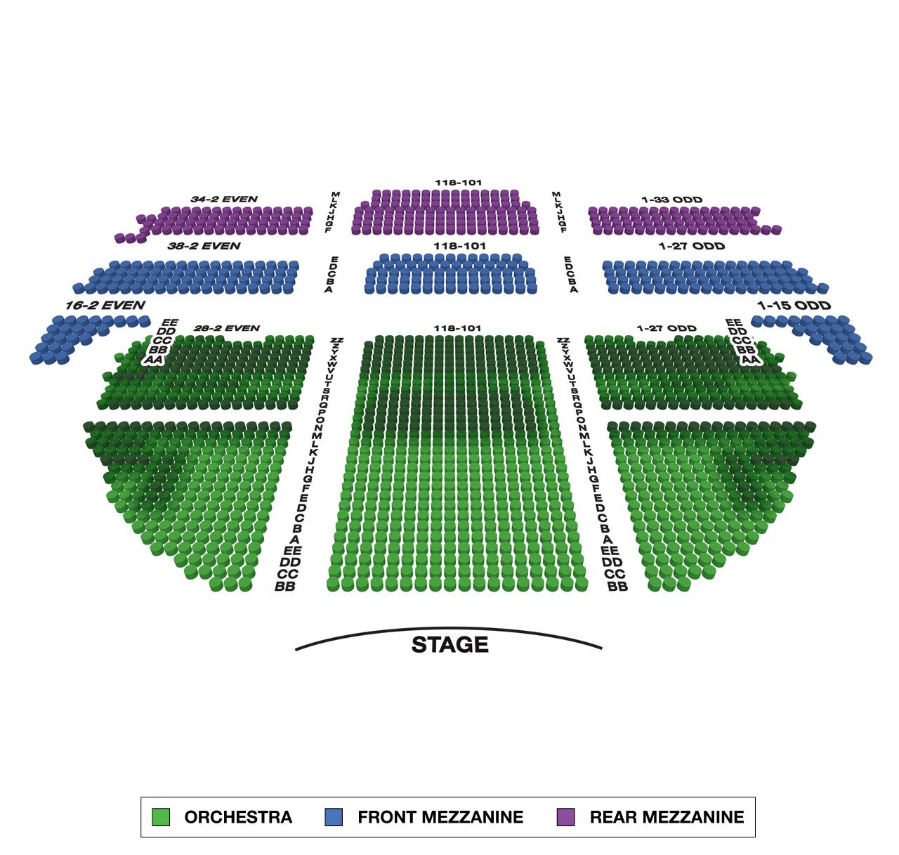 Gershwin theatre large broadway seating charts
