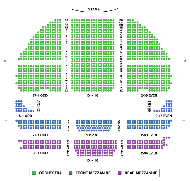 Wicked seating chart kimmel center seating charts view for Broadway plan