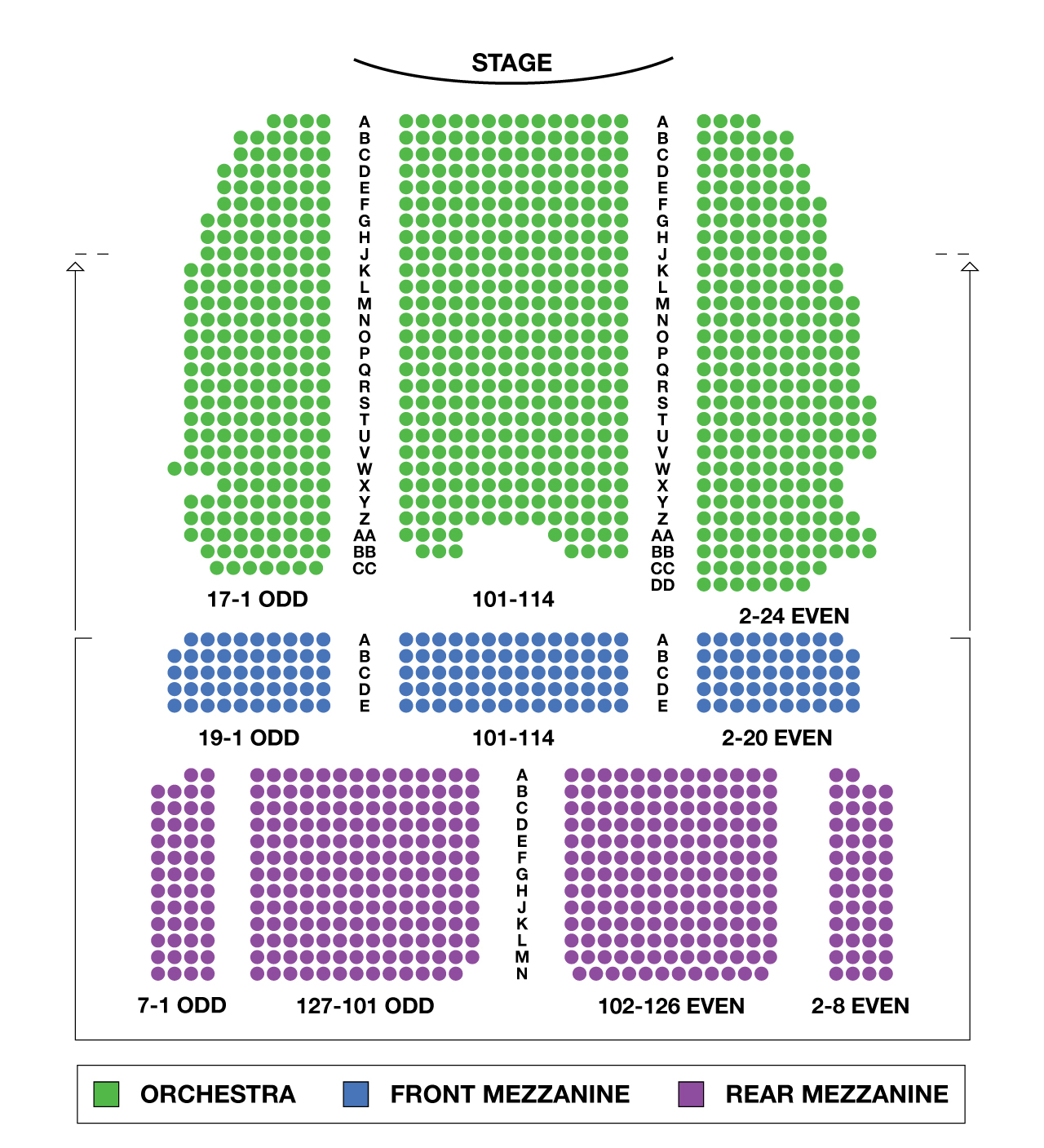 Lunt fontanne theatre large broadway seating charts for Broadway plan