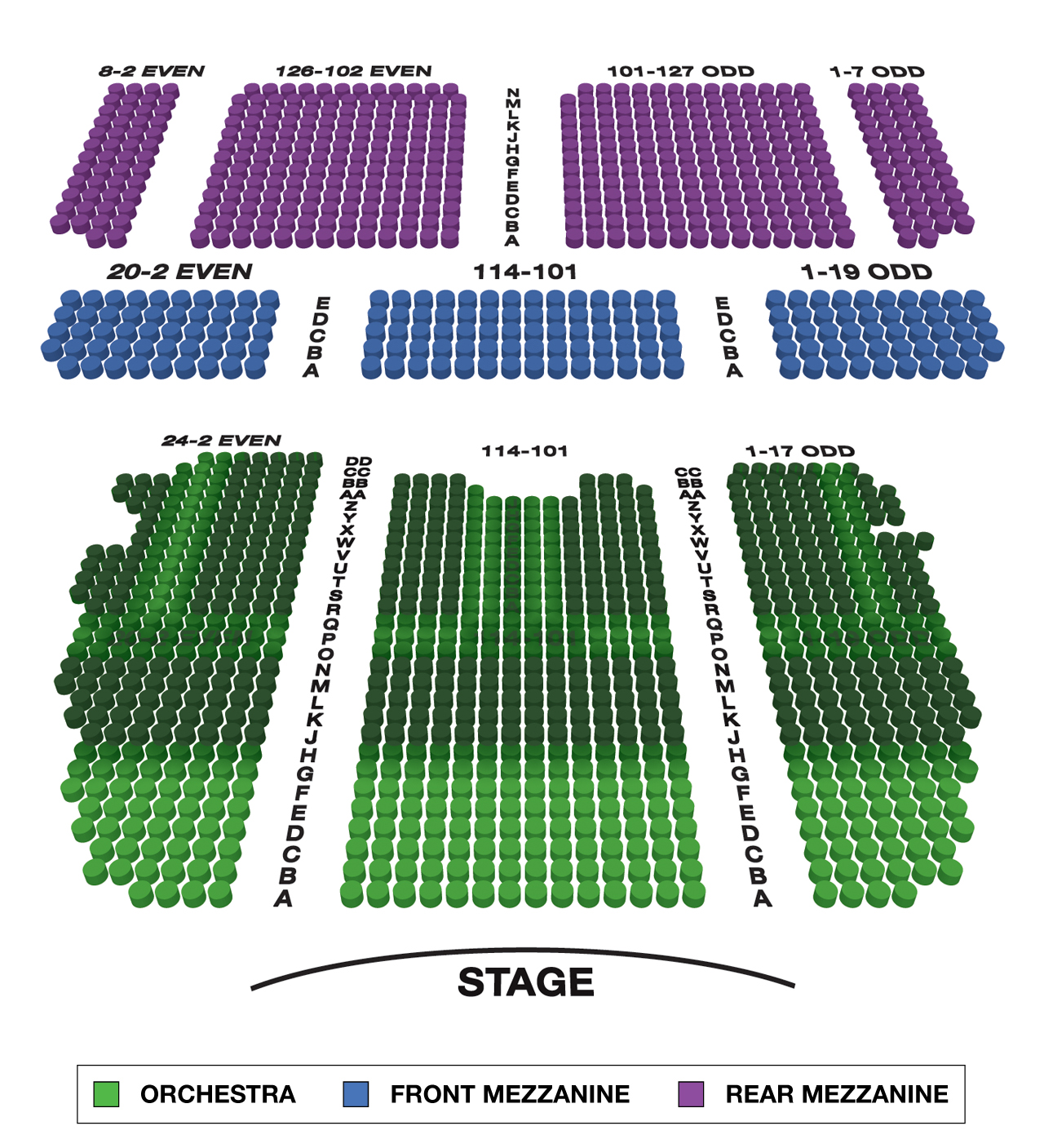 Lunt Fontanne Theatre Large Broadway Seating Charts