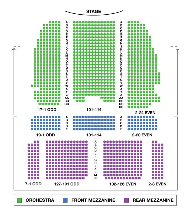 Lunt fontanne theater seating chart lunt fontanne for Broadway plan