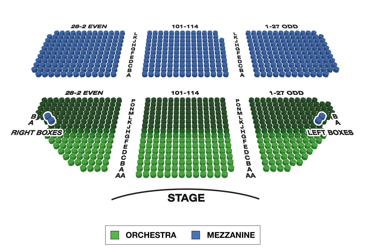 Music Box Theatre Large Broadway Seating Charts