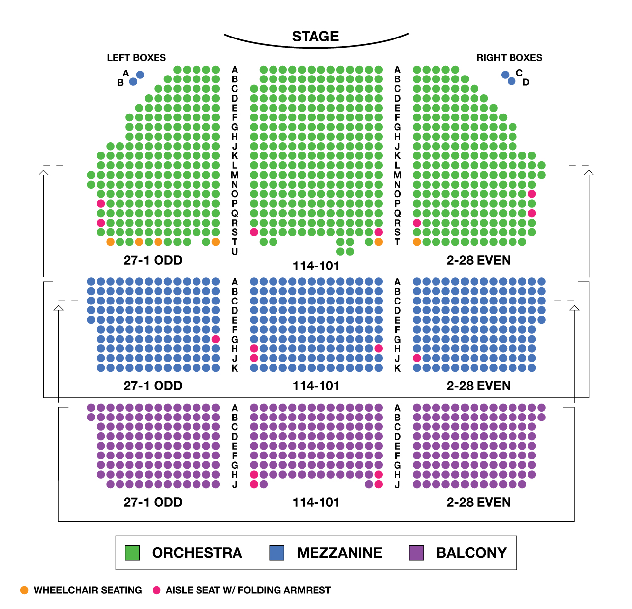 Shubert Theatre Large Broadway Seating Charts