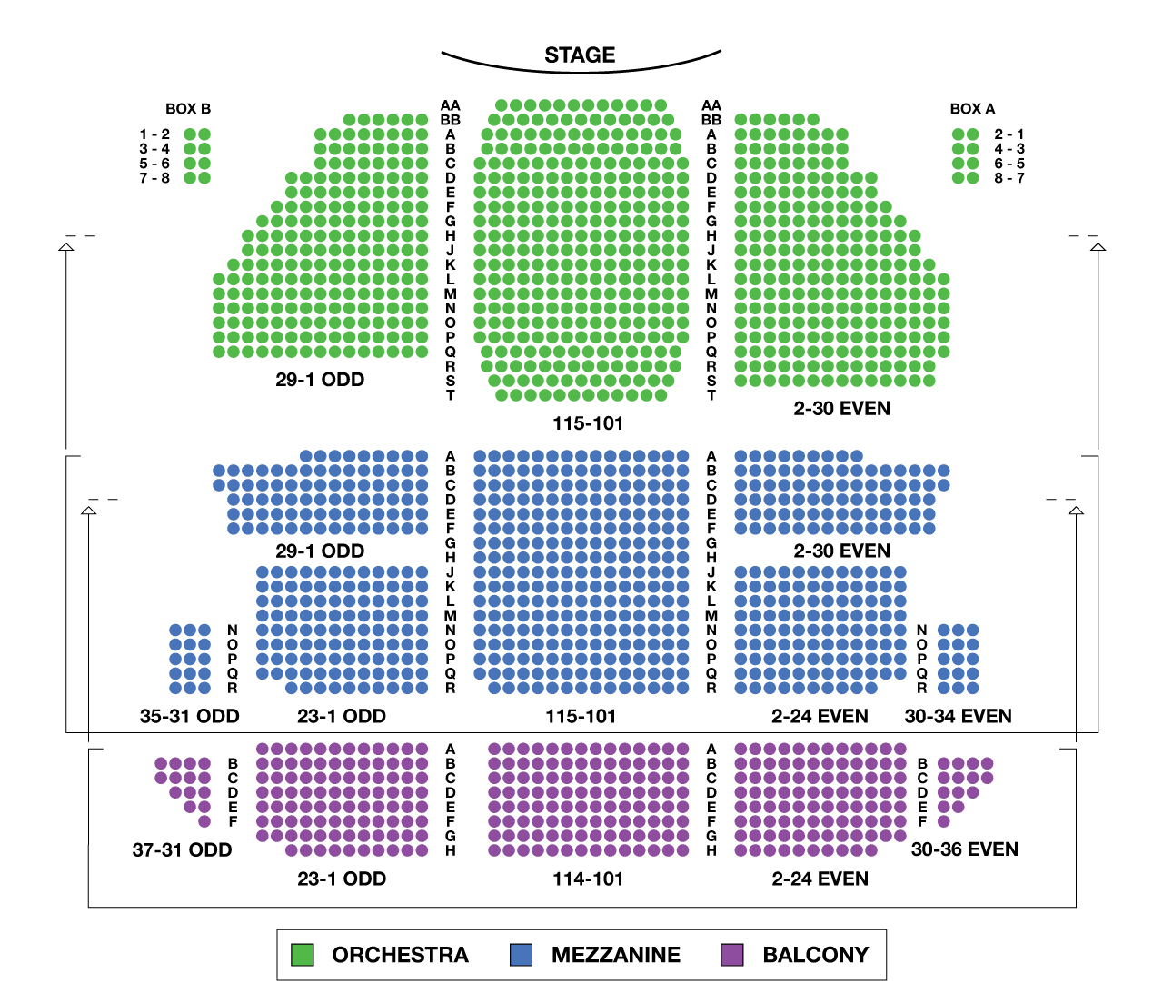 St James Theatre Large Broadway Seating Charts