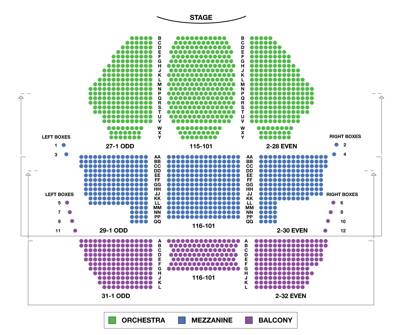 New Amsterdam Theatre Large Broadway Seating Charts