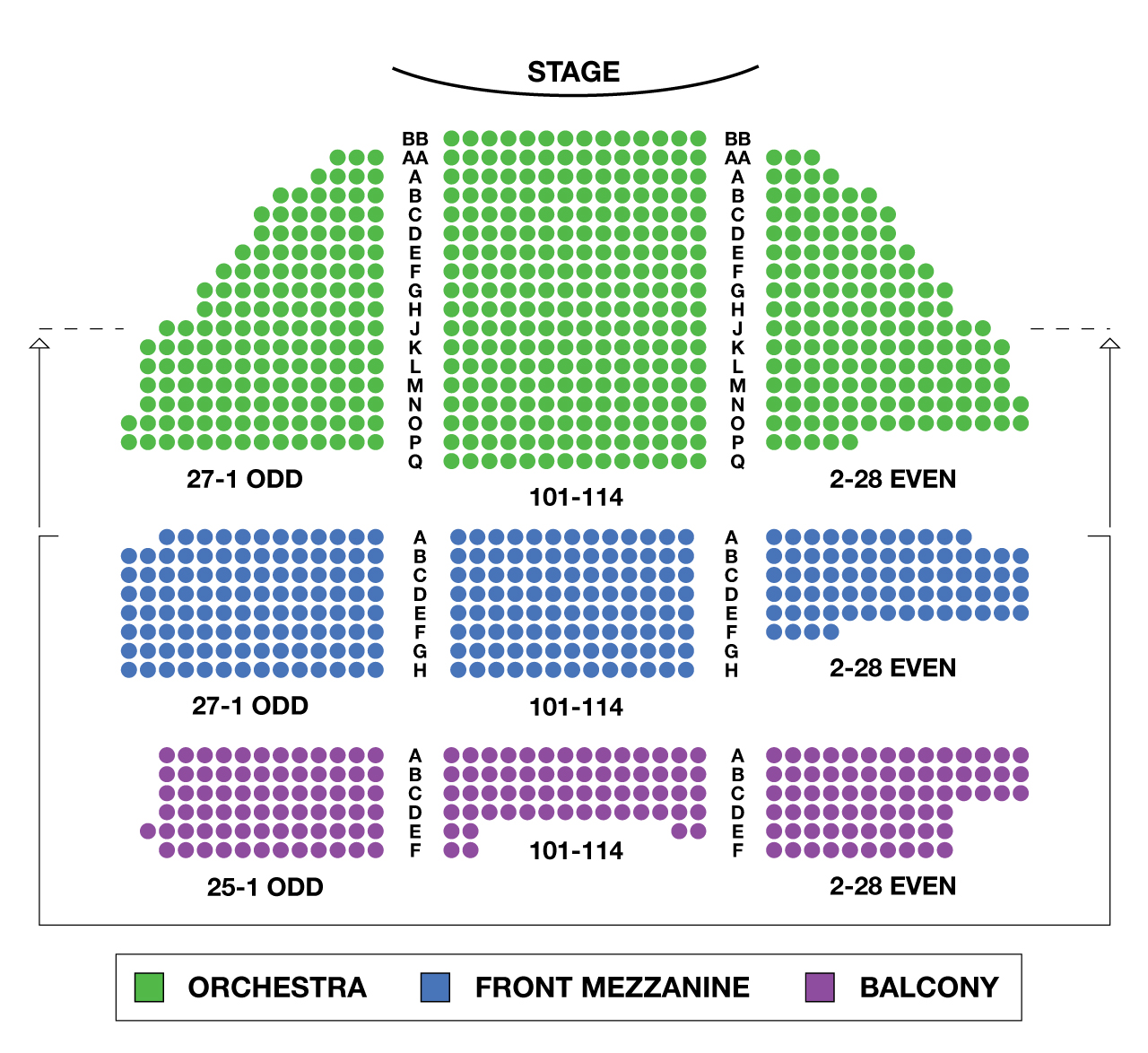 Belasco Theatre Large Broadway Seating Charts Central