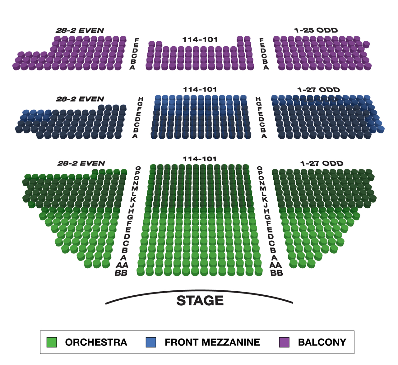 Belasco theatre large broadway seating charts