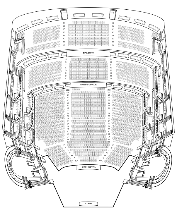 Hudson Theatre Small Seating Chart