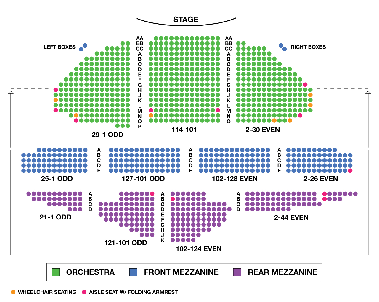 Ambassador Theatre Large Broadway Seating Charts