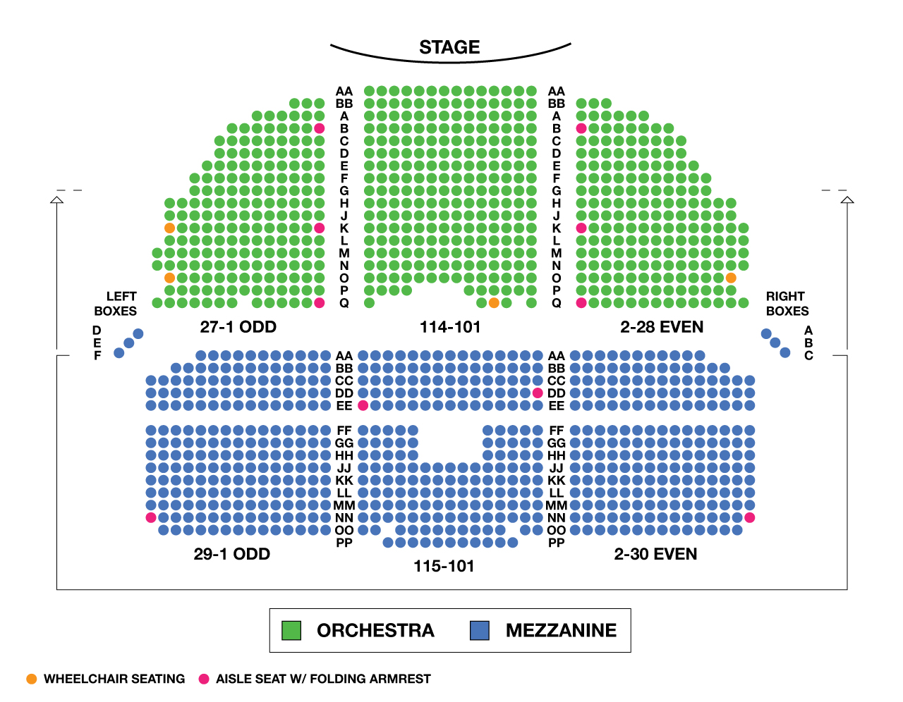 Nederlander theater seating chart nederlander theatre for Broadway plan