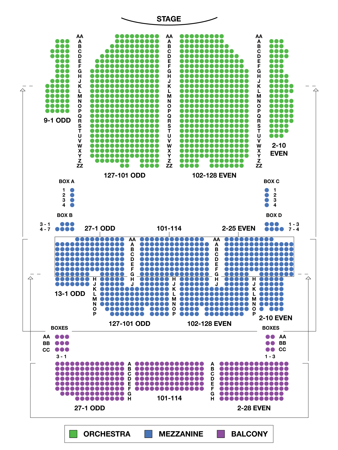 Palace Theatre Large Broadway Seating Charts
