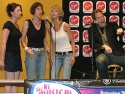 """Jimmy Bennett sings """"Driving Home (The Rage)"""" backed up by the Shaggs (l-r) Dana, Jamey Hood and Amy Eschman"""