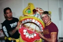 A. J. Ocampo and Daniel Therrien with Monster Goldfish puppet head