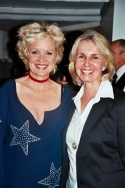 Writer/journalist Sally Quinn, who owns the actual Grey Gardens home with husband Ben Bradlee, with Christine Ebersole