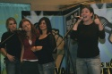 """Hollis Scarborough, Tara Giordano, Alessandra Migliaccio, and Kelly Tighe singing """"Invocation"""" from Lunch"""