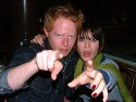 "Jesse Tyler Ferguson with ""Class""mate Lizzy Caplan ham it up for