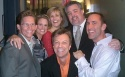 Director Jack Noseworthy, Cady Huffman, Karen Mason, New York State Assembly Member Danny O'Donnell, and Senior Kerry advisor Jim Jones surround host Jim Caruso