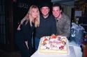 Barri McPherson, Mark Schoenfeld and Timothy Boynton with a celebration cake for Mark's Birthday