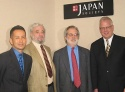 (from left) Amon Miyamoto, Stephen Sondheim, John Weidman, Japan Society President Frank Ellsworth. Photo © Christy Jones.