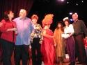 Christine Pedi, Jim Brochu,EthelMerman impersonators, and Steve Shalchlin Photo