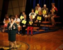 Lisa Howard with cast members and guest spellers, including Jared Gertner, Julie Andr Photo