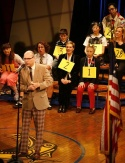 Greg Sturh with Spelling Bee stars and guest spellers, including Jessica-Snow Wilson, Jared Gertner, Julie Andrews, Sarah Saltzberg, Deborah S. Craig, Emma Walton Hamilton and Jose Llana