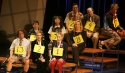 (From bottom row) Cast and spellers, including Jared Gertner, Julie Andrews, Sarah  Photo