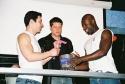Roger Rosen, Christopher Sieber and Sean Baptiste reading off the raffle winners