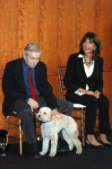 Edward Albee and Mercedes Ruehl with Gracie the dog