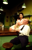 Diner owner Joanne Fayan (left) as Grace flirts with bus driver Walter Cotter (right) as Carl