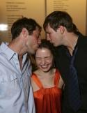 Josh Cooke and Bill Heck kiss Jenna Gavigan