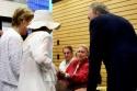 Joan Kobin greeting Barbara Cook and Rick McKay