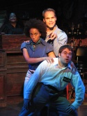 (Top to bottom) David Jon Wilson as Officer Bell, Marcie Henderson as Tish Thomas, and Omri Schein as Bailiff